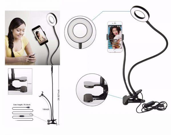 Lazy Bracket Cell Phone Holder with Selfie Ring Light