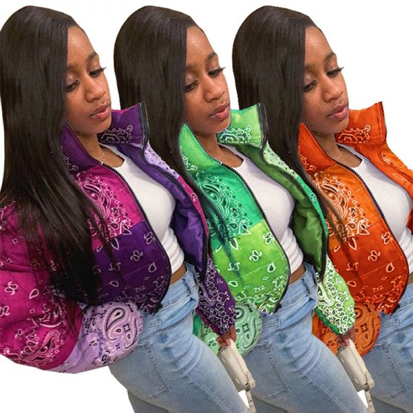 Bandana Coat Paisley Printed Bubble Jackets For Women