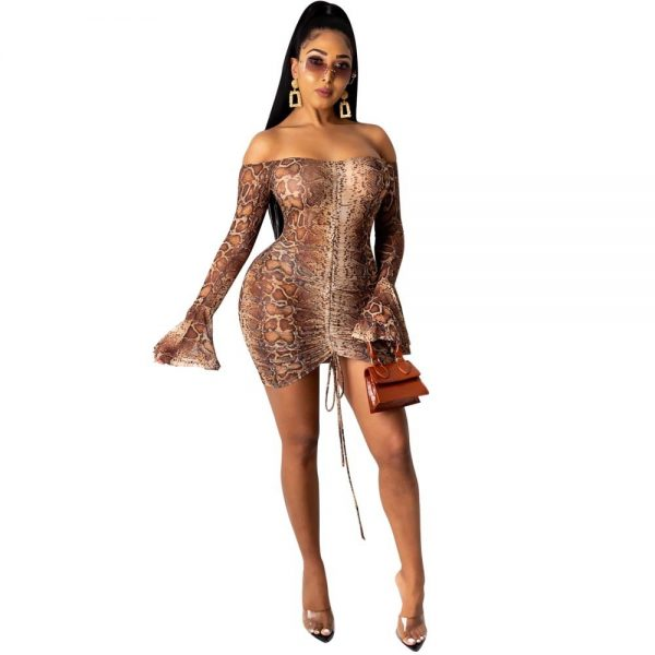 Womens Snake Print Long Sleeve Dress Women Sexy Evening Party Night Dresses
