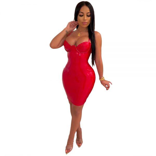Faux Leather Mini Dress Spaghetti Strap Zippers Womens Clothing
