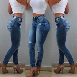 Sexy High Waist Woman's Push Up Hip Skinny Denim Jeans