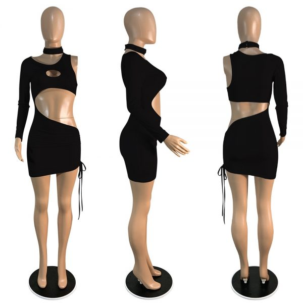 One Shoulder Hollow Out Bodycon Dress Ruched Drawstring Elastic Mini Dress