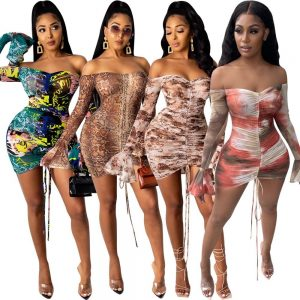Womens Snake Print Long Sleeve Dress Women Sexy Evening Party Night Dresses