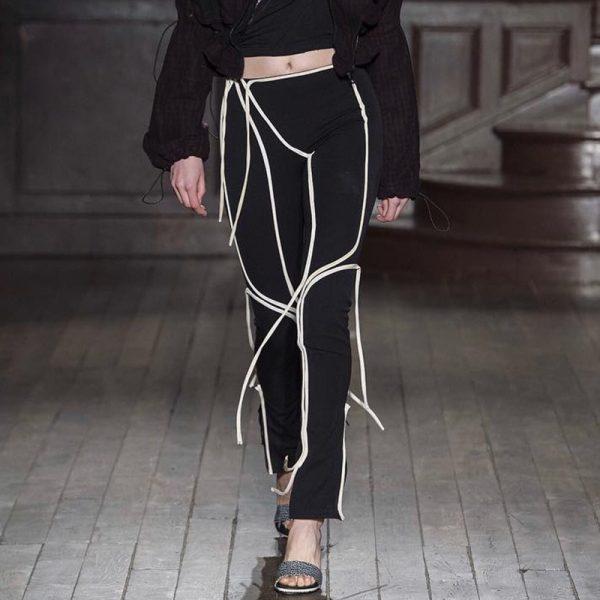Women Streetwear High Waist Trousers Elastic Striped Pencil Skinny Pants