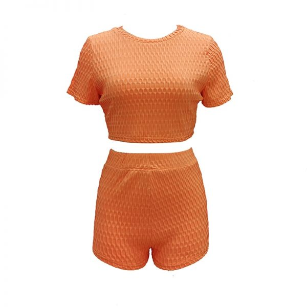 Solid Knitted Two Piece Set Tracksuit Short Sleeve Crop Top Fitness Suit