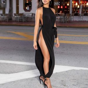 Sexy Bodysuit Women Pajama Solid Color Sexy Ruched Sleeveless High Slit Jumpsuits Sleepwear Overalls Pyjama Femme Sleepwear D4