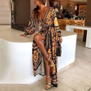 2021 New Style Fashion Elegant Women Sexy Boat Neck Glitter Deep V Neck Print Party Dress Formal Long Dress Sexy Clubwear