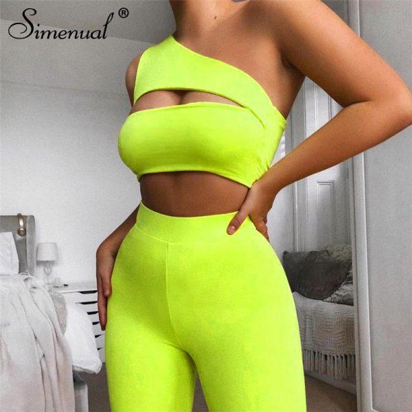 Neon Color Women Two Piece Set Cut Out Crop Top And Biker Shorts