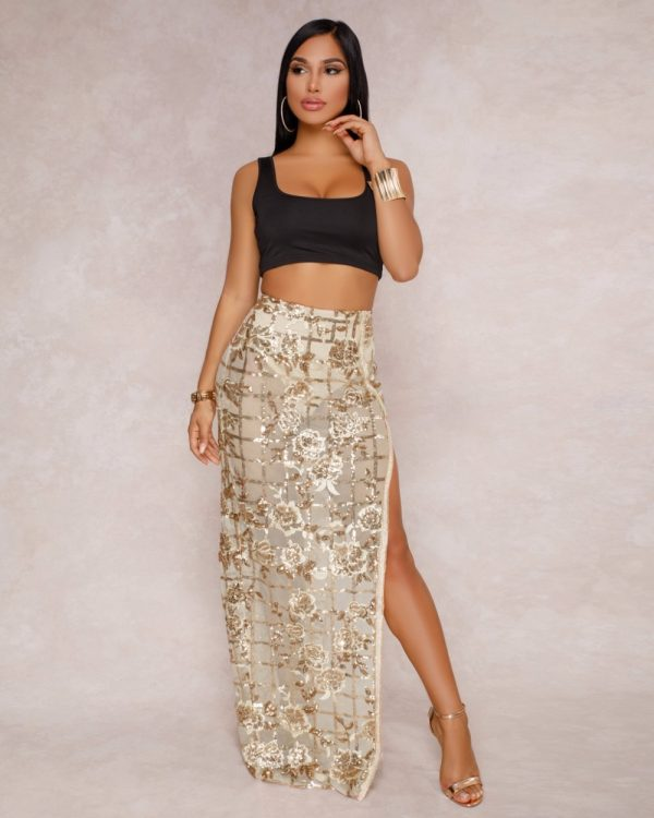 Long Maxi Skirts Flower Sequined High Slit Night Club Wear