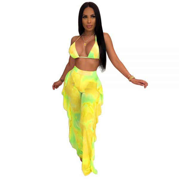 Tie Dye Print Mesh Summer Beach Two Piece Set with Panties Women Sexy Bra Halter Crop Top