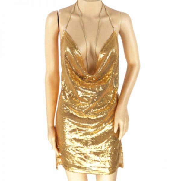 Woman's Spaghetti Strap Sequin Sexy Club Dress