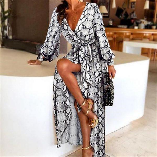 2021 New Style Fashion Elegant Women Sexy Boat Neck Glitter Deep V Neck Print Party Dress Formal Long Dress Sexy Clubwear
