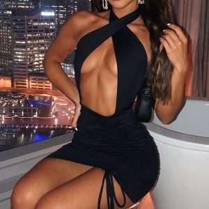 Bodycon Dress Sexy Cross Lace Up Backless Hollow Out Sleeveless Slim Dresses
