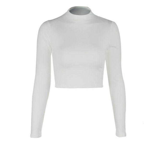 Women Sexy Bodycon T Shirt Long Sleeve O-neck Crop Top