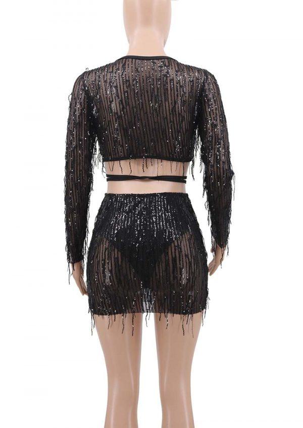 womens Crop Top And High Waist Skirt Set Tassle Sequins Tracksuit