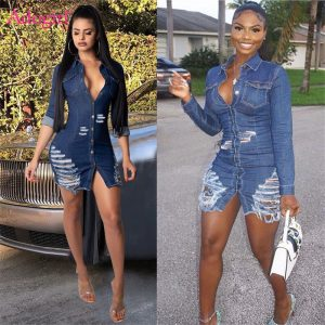 Sexy Holes Jeans Dress Denim Mini Dresses