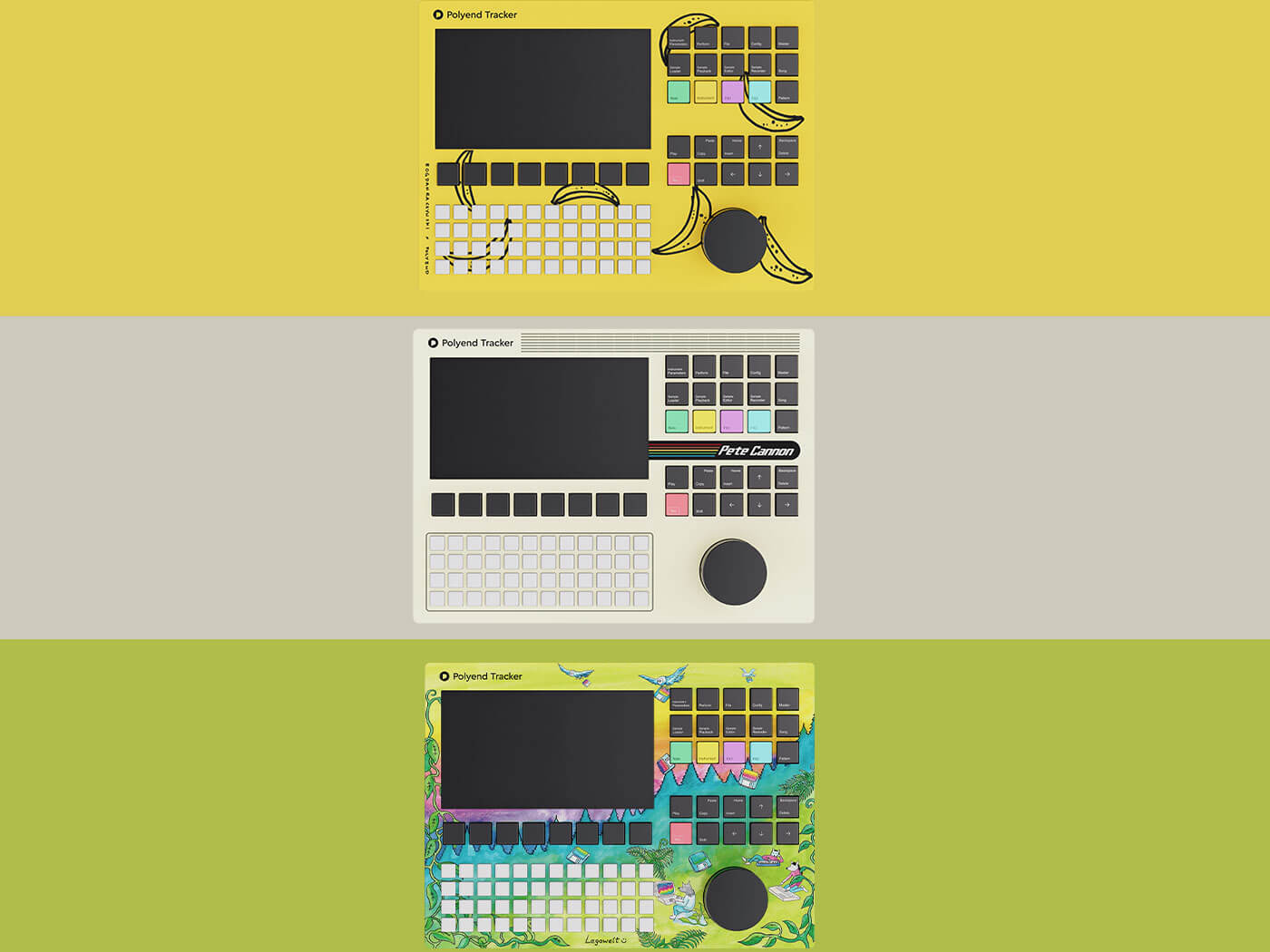 These three Polyend Trackers come with new samples and project files by artists