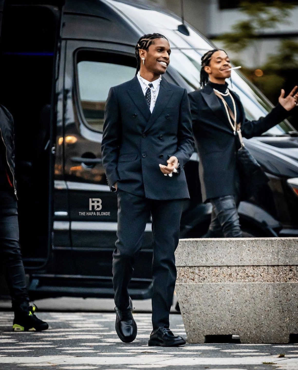 Fashion Bomb Men: A$AP Rocky Attends 2021 Tribeca Film Festival for Premiere of His Documentary 'Stockholm Syndrome' in Celine Black Suit and Bottega Veneta Leather Shoes