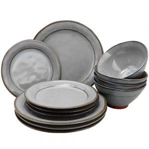 Gibson Elite Terranea 12 Piece Dinnerware Set in Grey