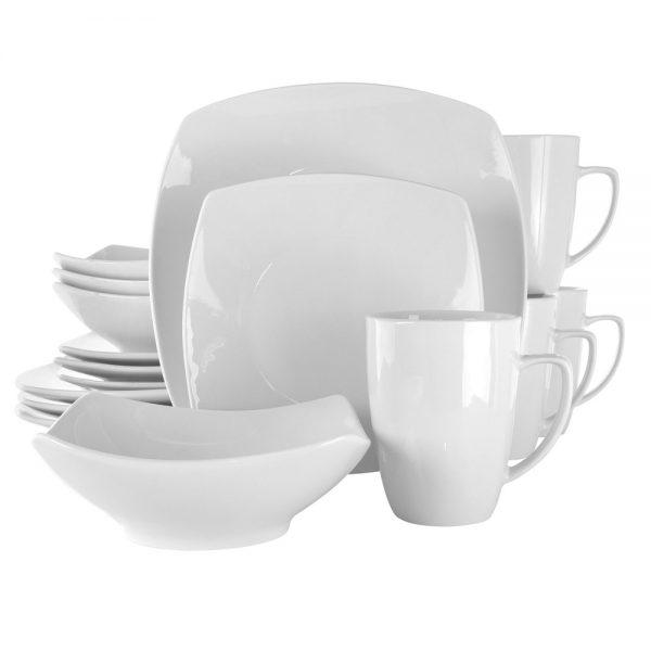 Elama Hayes 16 Piece Square Porcelain Dinnerware Set in White