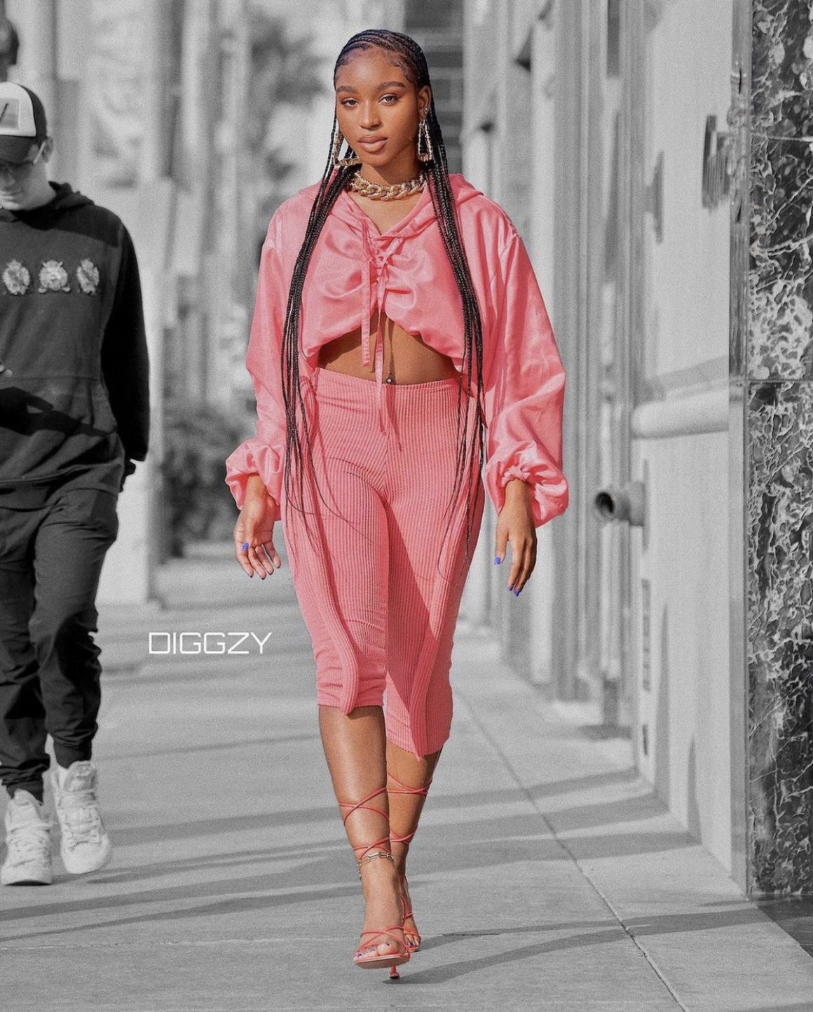 Normani Struts on Rodeo Drive Rocking a Pink Cropped Hoodie and Capri Leggings by TLZ L'Femme